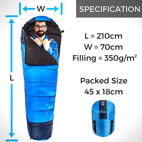 350X SLEEPING BAG – WARM 350G FILLING & BREATHABLE, IDEAL CAMPING GEAR FOR MUSIC FESTIVALS