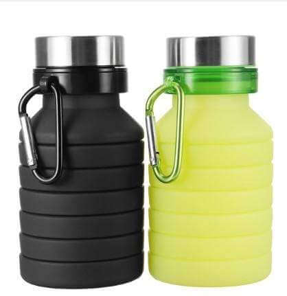 550ML SILICONE RETRACTABLE FOLDING COFFEE TELESCOPIC COLLAPSIBLE, FOLDABLE WATER BOTTLE WITH CARABINER
