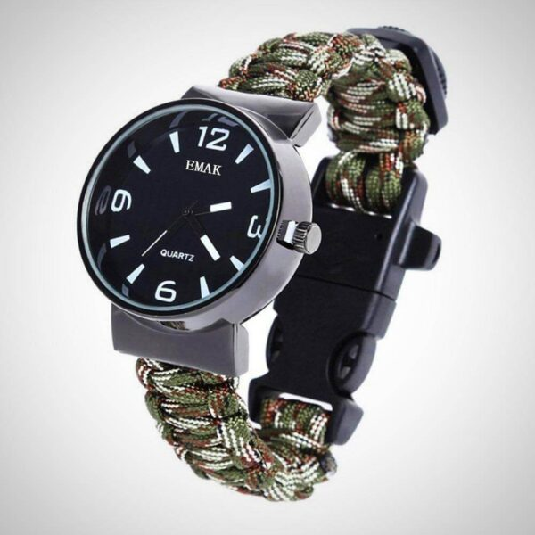 Army Green Outdoor Paracord Survival Watch Bracelet