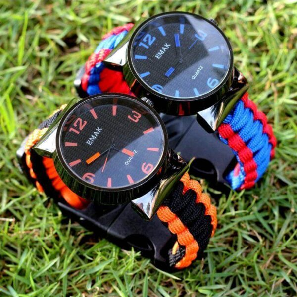 BEST OUTDOOR PARACORD SURVIVAL WATCH BRACELET WITH FLINT FIRE STARTER COMPASS WHISTLE