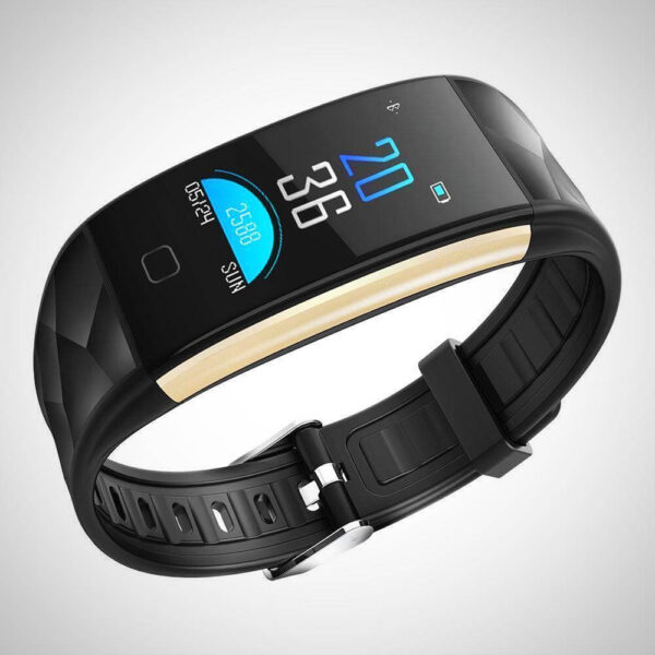 Black BLOOD PRESSURE MONITOR FITNESS SMART WATCH Band