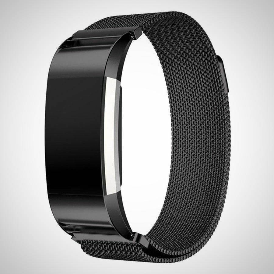 Black FITBIT CHARGE 2 BAND STRAP MAGNETIC MILANESE STAINLESS STEEL