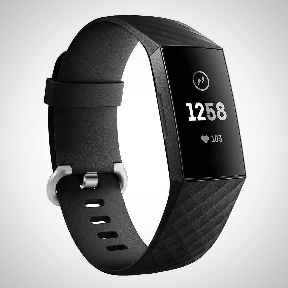 Black FITBIT CHARGE 3 REPLACEMENT SILICONE WATCH WRIST BAND STRAP