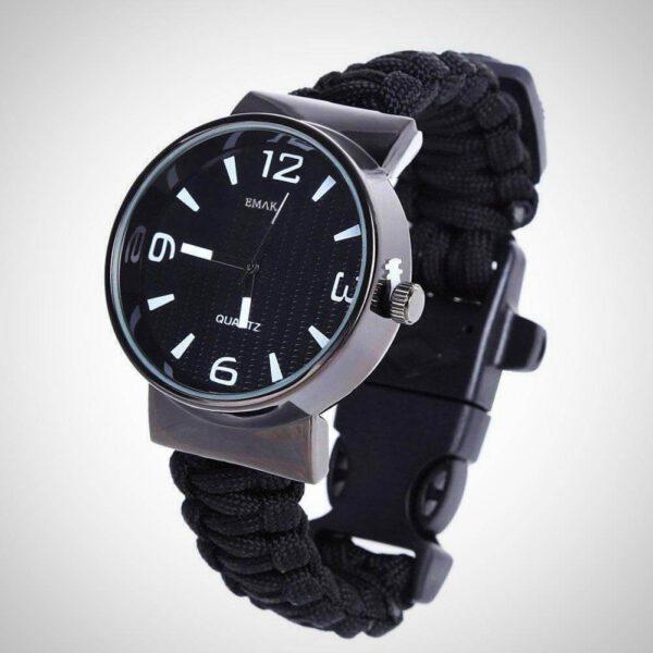 Black Outdoor Paracord Survival Watch Bracelet