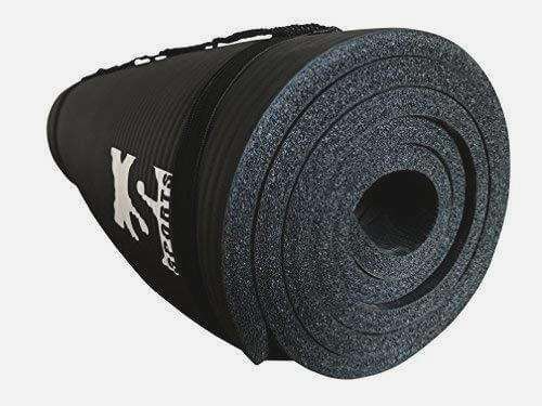 Black yoga exercise mat