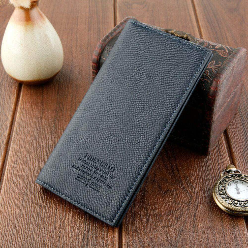 Blue leather bifold wallet credit cardholder