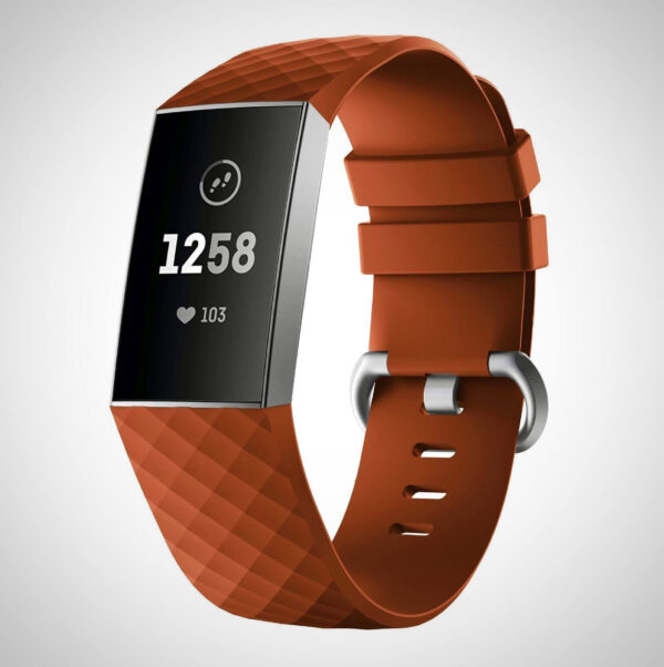Brown FITBIT CHARGE 3 REPLACEMENT SILICONE WATCH WRIST BAND STRAP