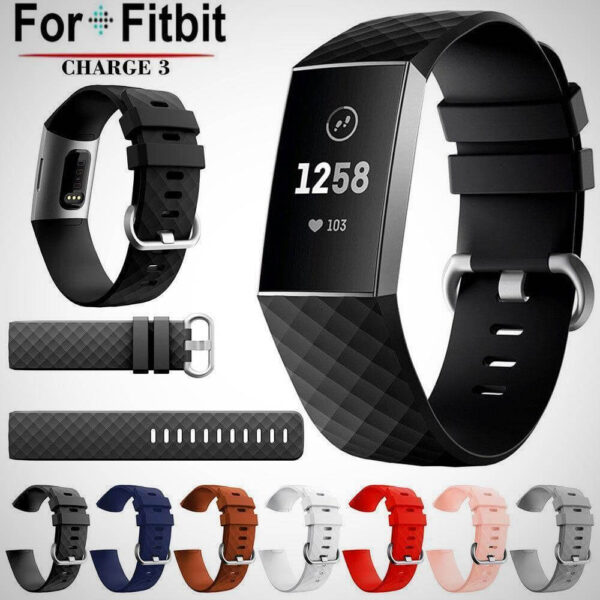 FITBIT CHARGE 3 REPLACEMENT SILICONE WATCH WRIST BAND STRAP