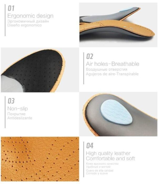 HIGH QUALITY LEATHER ORTHOTICS INSOLE FOR FLAT FOOT ARCH SUPPORT 25MM ORTHOPEDIC SILICONE INSOLES FOR MEN AND WOMEN 2020