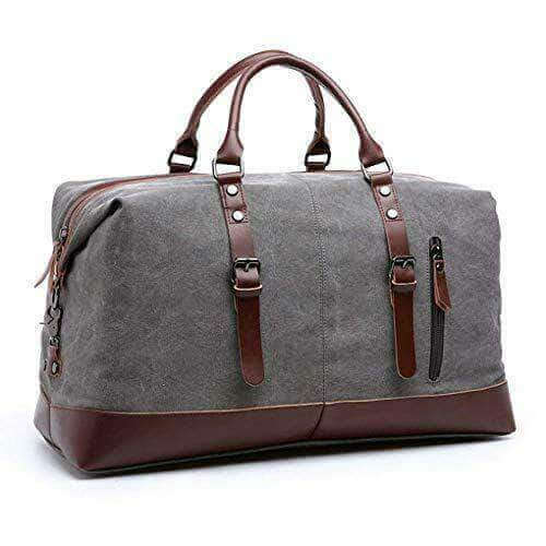LARGE CAPACITY CANVAS PLUS LEATHER PORTABLE TRAVEL SHOULDER BAG