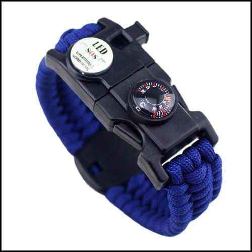 MEN WOMEN BRAIDED SURVIVE BRACELET LED LIGHT PARACORD WRISTBAND CAMPING RESCUE ROPE GEAR KIT WITH WHISTLE COMPASS FIRE STARTER