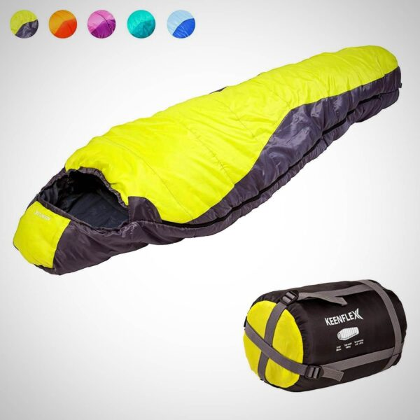 MUMMY SLEEPING BAG 3 4 SEASON EXTRA WARM LIGHTWEIGHT COMPACT WATERPROOF HEAT CONTROL SYSTEM