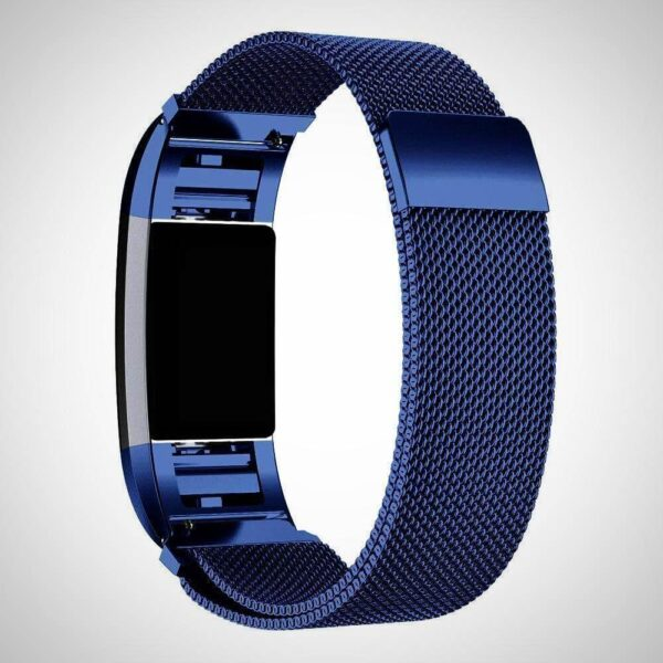 New BLue FITBIT CHARGE 2 BAND STRAP MAGNETIC MILANESE STAINLESS STEEL