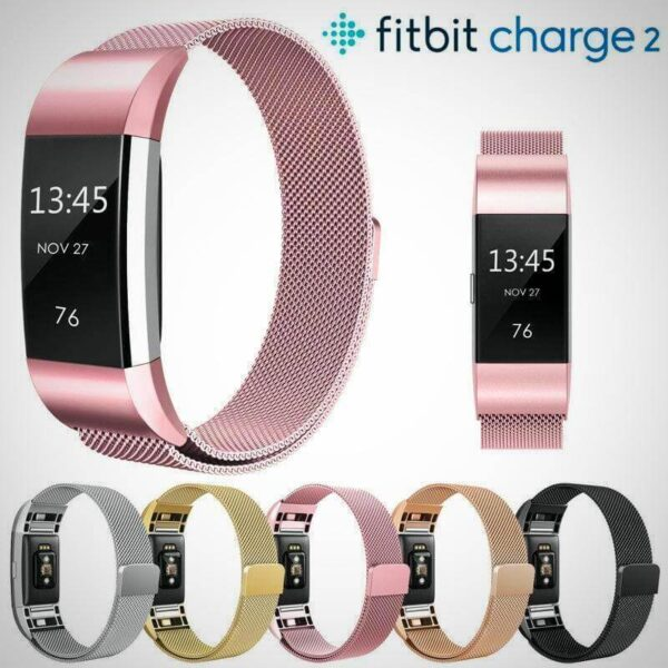 New FITBIT CHARGE 2 BAND STRAP MAGNETIC MILANESE STAINLESS STEEL