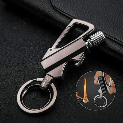 OUTDOOR SURVIVAL 3 IN 1 LIGHTER FIRE STARTER METAL KEYCHAIN PORTABLE CAN OPENER
