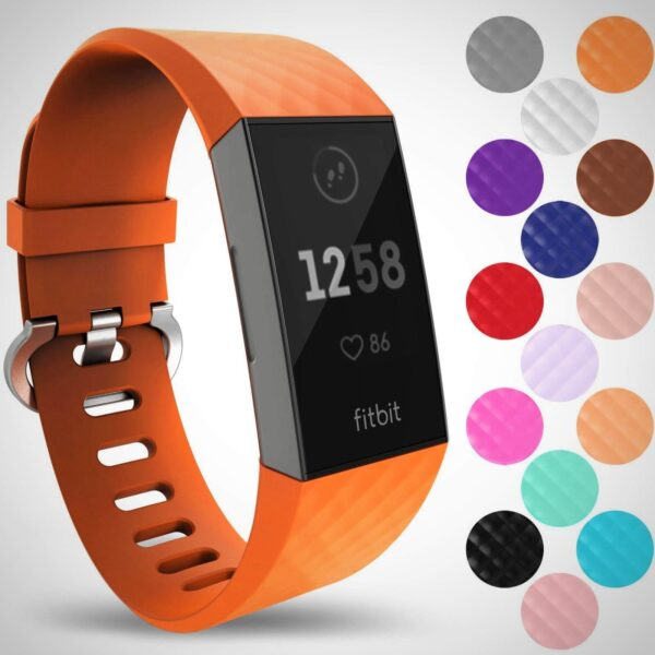 Orange FITBIT CHARGE 3 REPLACEMENT SILICONE WATCH WRIST BAND STRAP