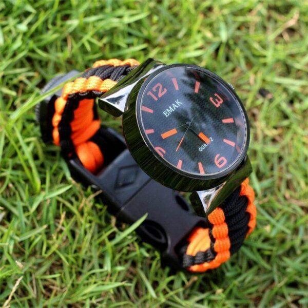 Orange and black BRACELET WITH FLINT FIRE STARTER