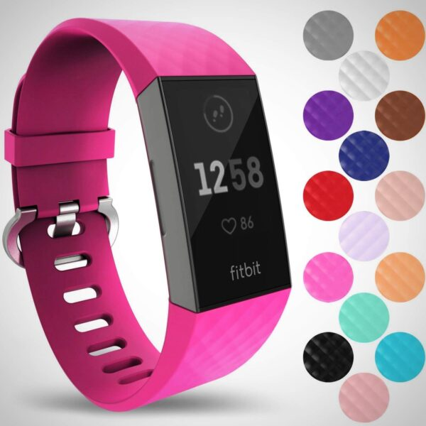Pink FITBIT CHARGE 3 REPLACEMENT SILICONE WATCH WRIST BAND STRAP