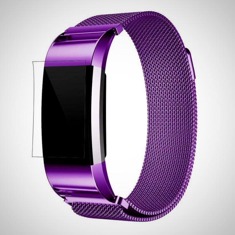 Purple FITBIT CHARGE 2 BAND STRAP MAGNETIC MILANESE STAINLESS STEEL