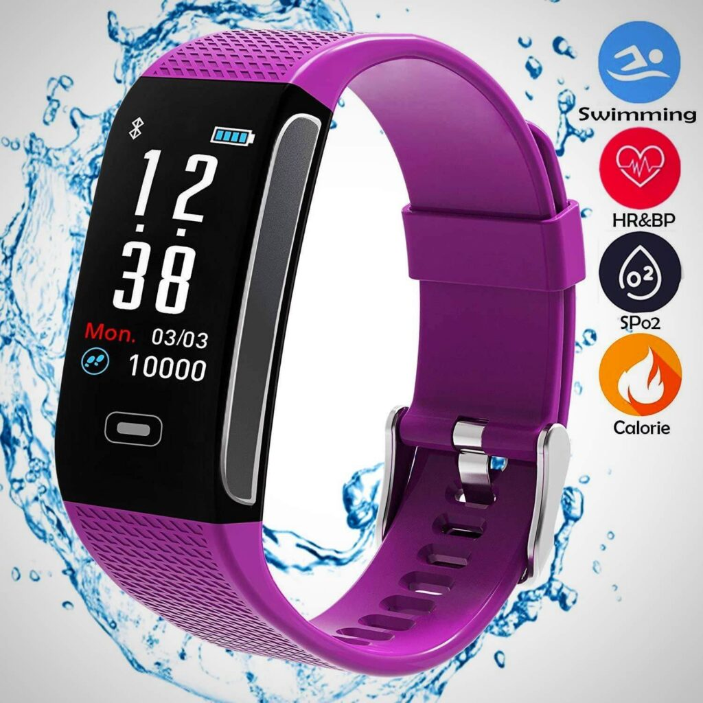 Purple FITNESS TRACKERS WITH 7 SPORTS MODE PEDOMETER HEART RATE BLOOD PRESSURE MONITOR