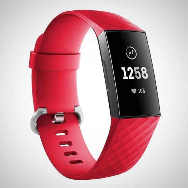 Red FITBIT CHARGE 3 REPLACEMENT SILICONE WATCH WRIST BAND STRAP