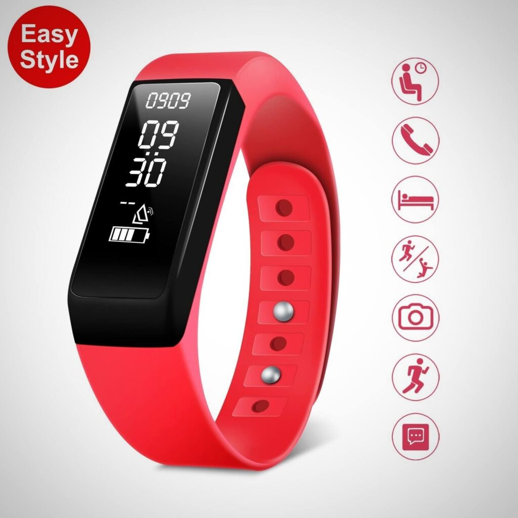 Red FITNESS TRACKER, SMART BRACELET ACTIVITY TRACKER WATCH WITH SLEEP MONITOR