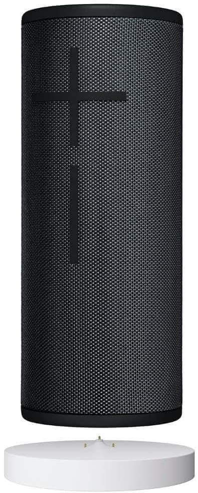 ULTIMATE EARS BOOM 3 WIRELESS BLUETOOTH SPEAKER POWER UP CHARGING DOCK IN BLACK AND BLUE