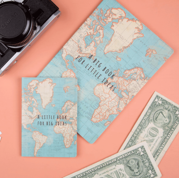 VINTAGE WORLD MAP TRAVEL A5 NOTEBOOK NOTE PAD PLAIN PAPER JOURNAL