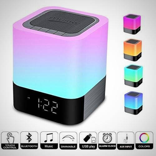 WIRELESS BLUETOOTH SPEAKER TOUCH CONTROL BEDSIDE LAMP ALARM CLOCK MP3 NEW