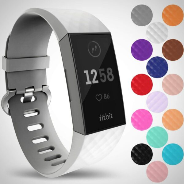 White FITBIT CHARGE 3 REPLACEMENT SILICONE WATCH WRIST BAND STRAP