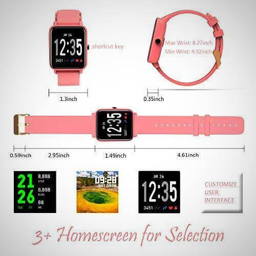 blood pressure and heart rate monitor fitness smartwatch