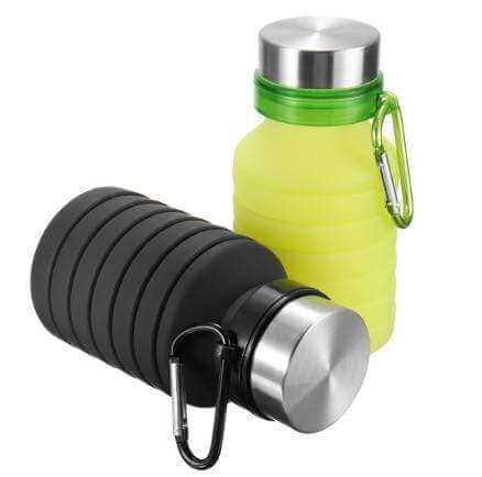collapsible water bottle with a carabiner