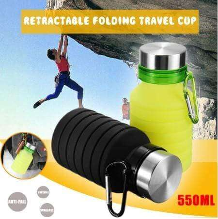foldable water bottle with carabiner