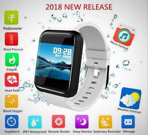 white BLOOD PRESSURE MONITOR SMART WATCH FITNESS TRACKER
