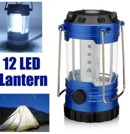 12 led 500lm 1 mode Cold White Camping Lamp Lantern With Compass Blue