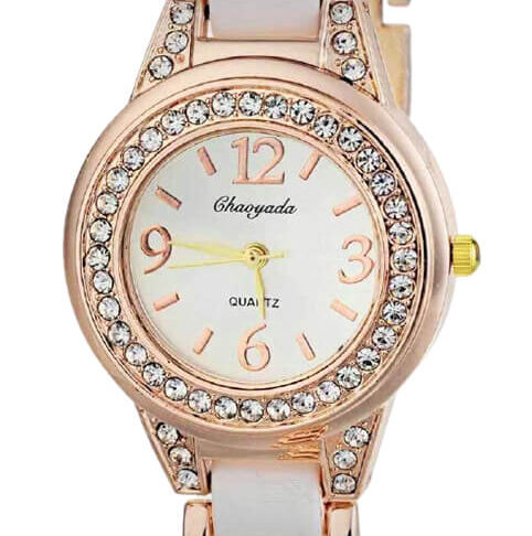 CRYSTAL WATCH CRYSTAL LINED THIN LEATHER BAND WATCH