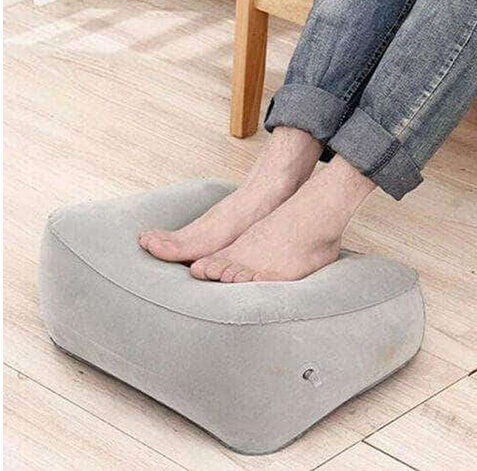 INFLATABLE TRAVEL FOOT REST PORTABLE COMFORT CUSHION LIGHTWEIGHT LEGS UP PILLOW