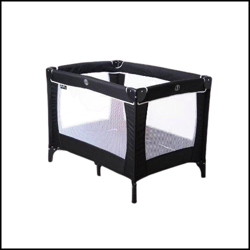 SLEEPTIGHT FULLY PADDED TOP RAILS TRAVEL COT INCLUDES CARRY BAG BLACK