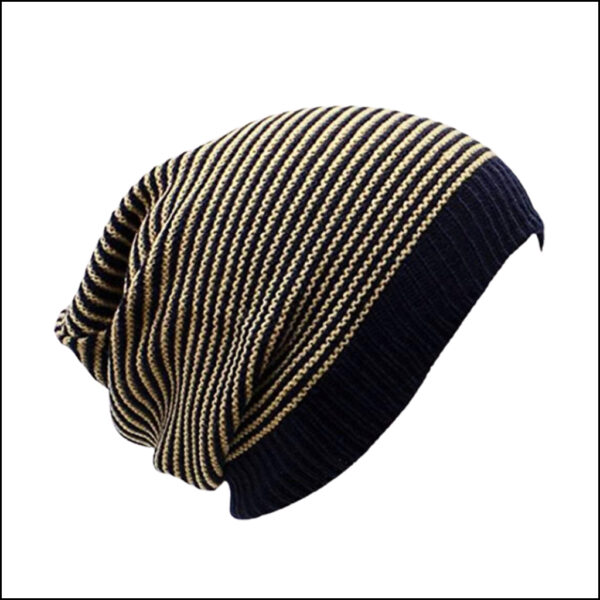 STRIPED SLOUCHY BEANIE HAT 2