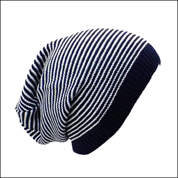 STRIPED SLOUCHY BEANIE HAT 3