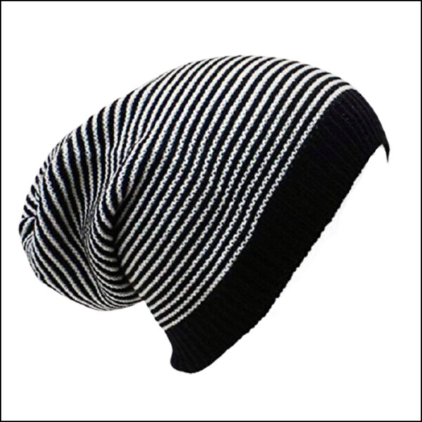 STRIPED SLOUCHY BEANIE HAT 9