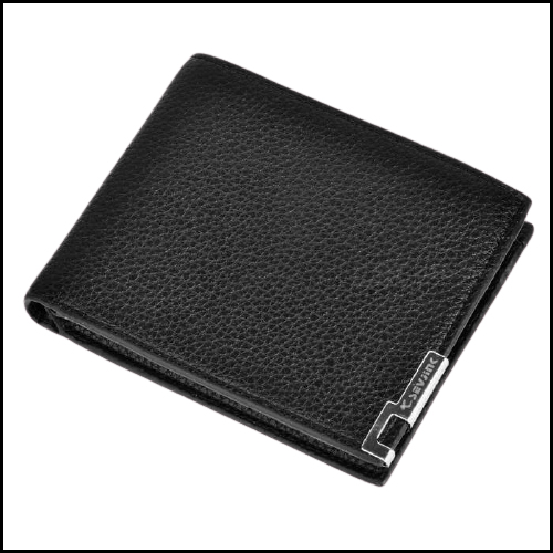 STYLISH FOLDED PU LEATHER SHORT WALLET PURSE FOR MEN – BLACK