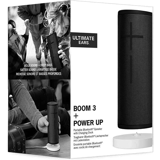 ULTIMATE EARS BOOM 3 WIRELESS BLUETOOTH SPEAKER + POWER-UP CHARGING DOCK IN BLACK AND BLUE 1
