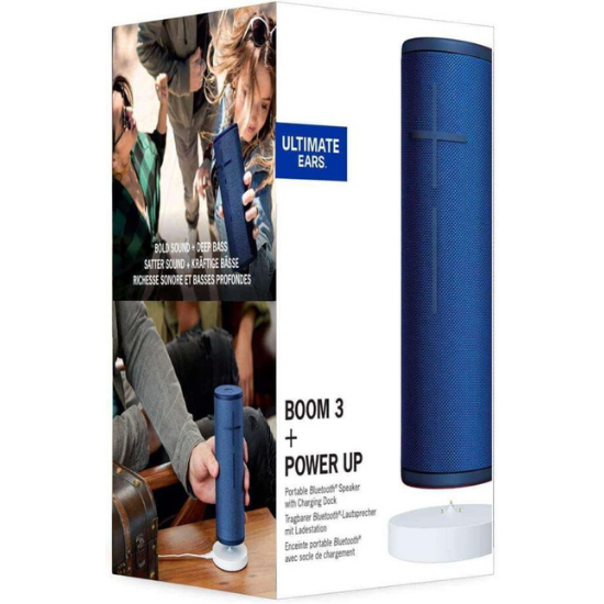 ULTIMATE EARS BOOM 3 WIRELESS BLUETOOTH SPEAKER + POWER-UP CHARGING DOCK IN BLACK AND BLUE 2
