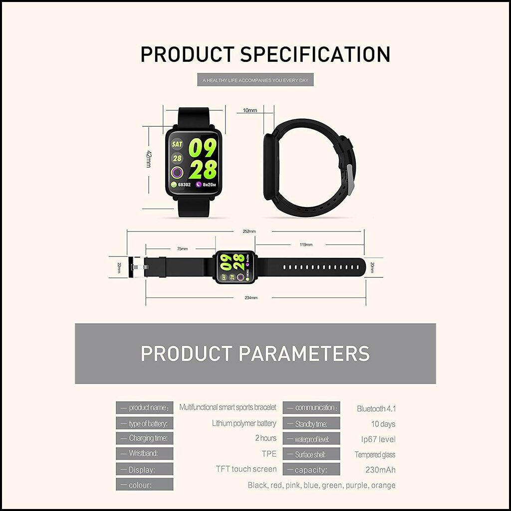 SMART WATCH, FITNESS TRACKER WATERPROOF IP67 HEART RATE MONITOR 2